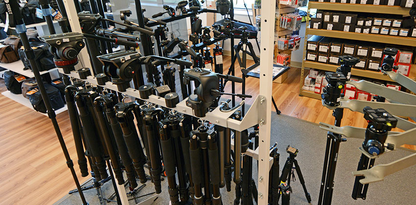 Tripods, monopods and heads on display